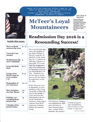 August 2016 Newsletter Cover