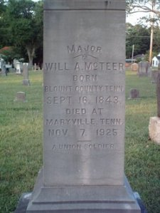 Major McTeer Tombstone