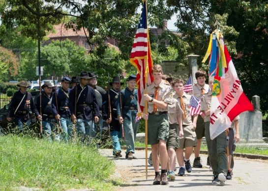 Parade of Colors with Boy Scout Troop 800 and 8th Tennessee Re-enactors