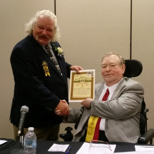 Commander in Chief Don Martin presents award to David McReynolds