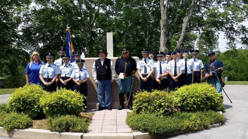 William Blount Color Guard and Firing Team Members Posing with McTeer Members at Monument