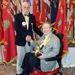 Commander in Chief Mark Day presents award to David McReynolds